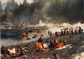 Exxon Valdez, oil, oil spill, clean up, Prince William Sound, pollution