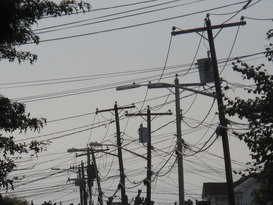 infrastructure, power lines, wooden poles, power outage, Sandy, hurricanes