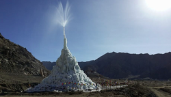 Ice, Ice stupa, ingenuity, himalayan, himalayan mountains, water, snow melt, ladakh, humankind, glacier, artificial glacier, india, pheyang monastery