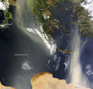 NASA, Earth, Terra satellite, dust over Mediterranean, Mediterranean Sea, God's Green Earth, Stewardship