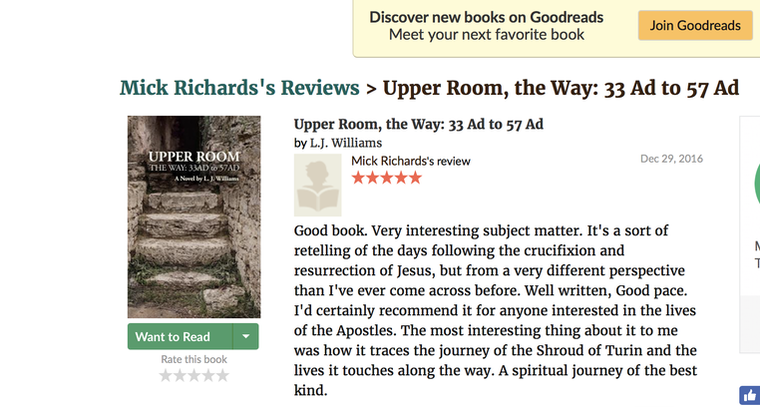 Goodreads, Jesus, Upper Room, Easter, L. J. Williams, Shroud of Turin, Jesus' Shroud, resurrection, Jesus the Christ