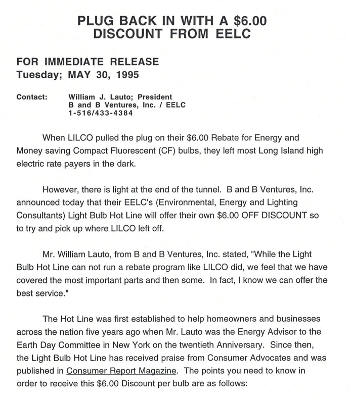 LILCO, Earth Day, EarthDay, Earth Day 1990, Earth Day 20th Anniversary, Bill Lauto, giant fluorescent bulb, save money, save energy, going green, going true green, sustainable living, sustainability, compact fluorescents, Lighbulb Hotline